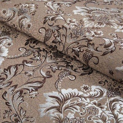Жаккард FLORA damask brown для обивки мебели