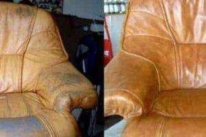 Пример ремонта и перетяжки кожаной мебели от ателье ГлавМебельРемонт